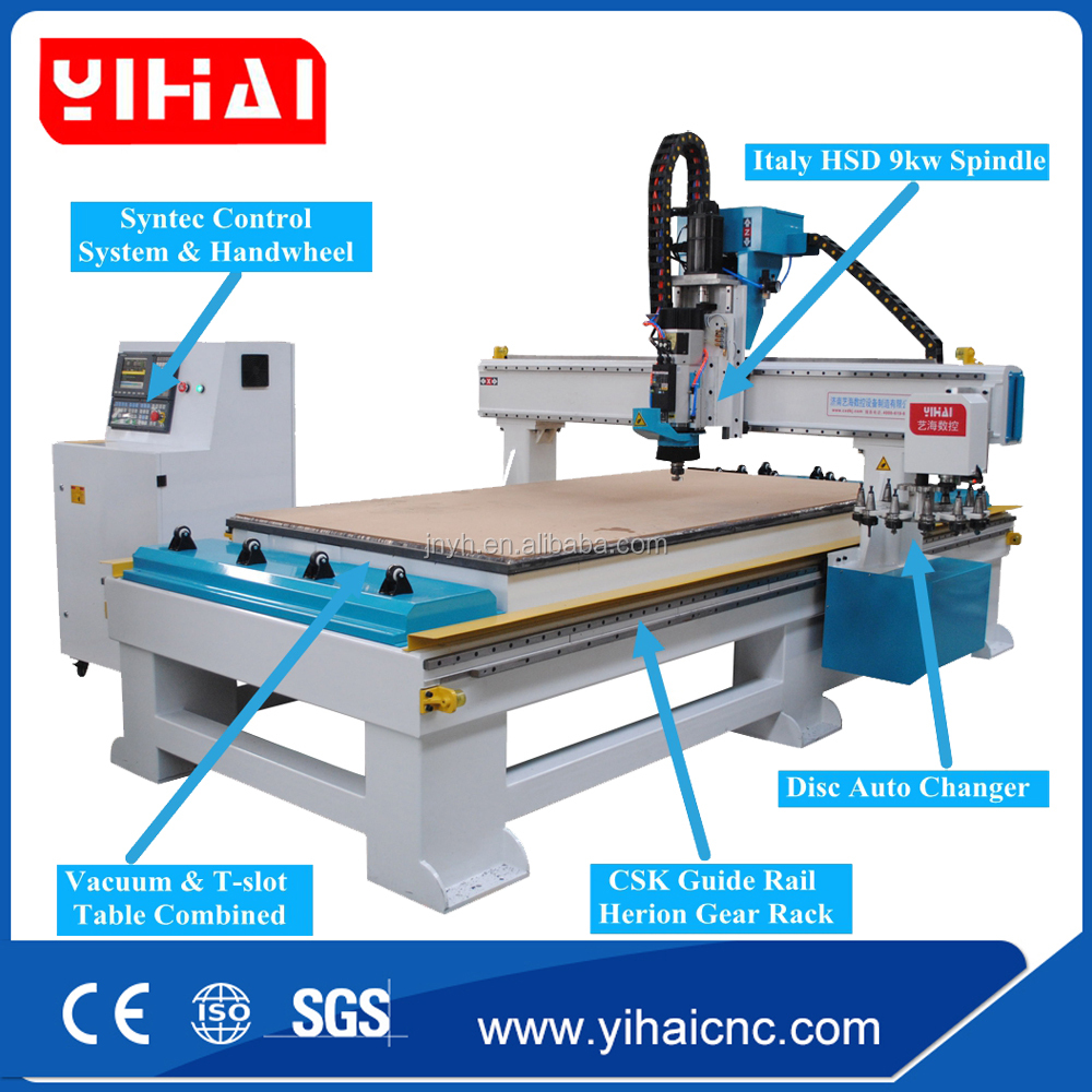Auto tool changer 1325 wood CNC router machine for wooden furniture design engraving ATC