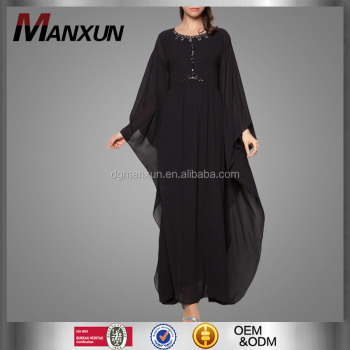 Designer Kaftan Dress Fashion Chiffon Dubai Kaftan Elegant Black Color Muslim Jubah 2016 Long Caftan