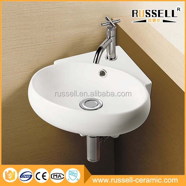 Best choice ceramic wall hung shell small size wash basin designs for dining room