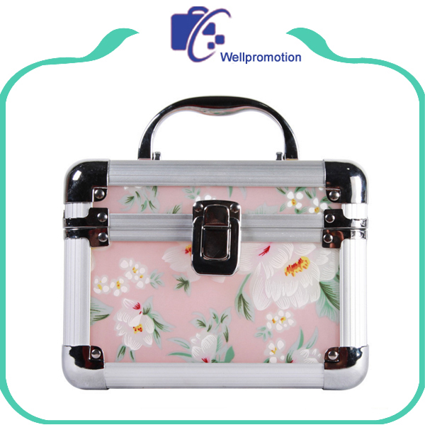 Personalized flower printing aluminum hard portable cosmetic makeup case