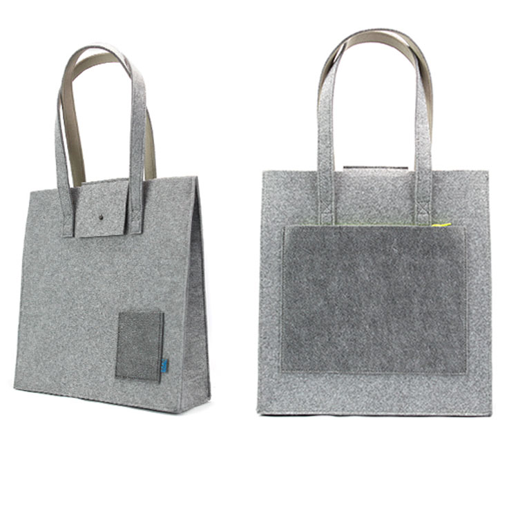 felt shopping tote bag with hand sewing