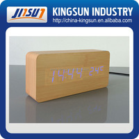 Wooden LED Alarm Clock+Time/date/temperature , led digital clock display, Voice Activated Table Clocks KSW104