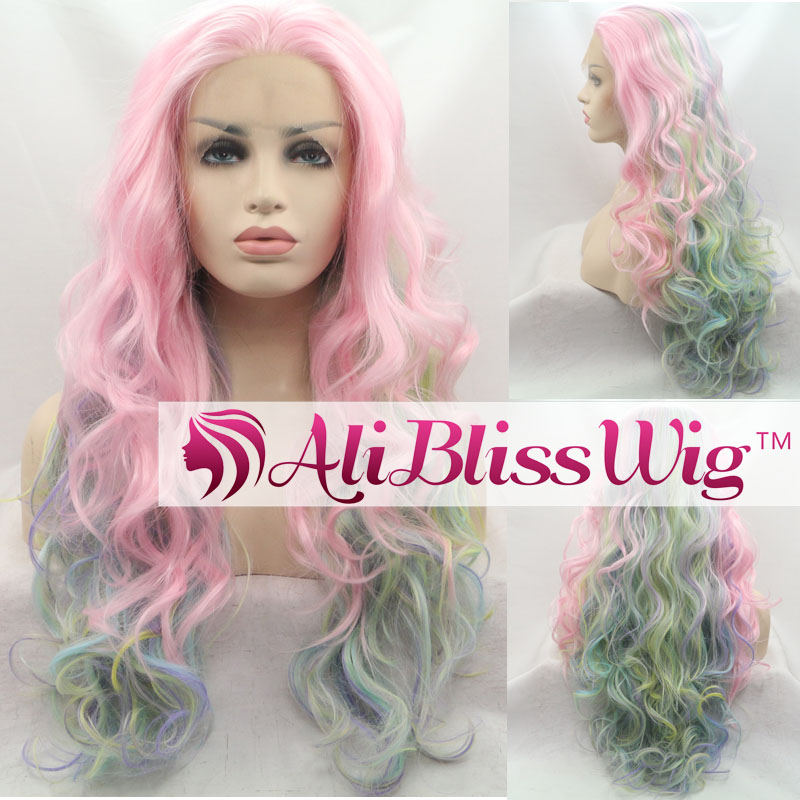 "24"" Long Curly Heat Resistant Fiber Hair Ombre Pink Highlight Yellow Green Purple Lace Front Synthetic Wig"