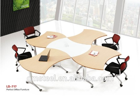 Modern design movable wood top staff office desk/executive desk combination training table