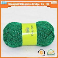china fancy yarn supplier cheap sales good quality 100 polyester glitter yarn for hand knitting with balls