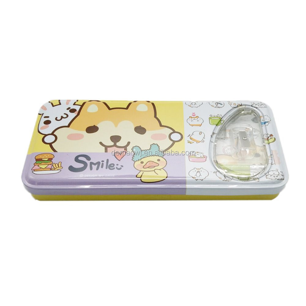 Fine quality lovely cartoon printing stationery gift hinged tinplate pencil box with clear plastic window on lid