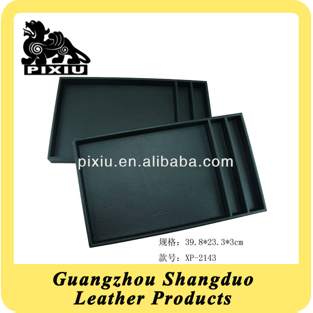 Excellect Quality Wooden Restaurant Service Tray in Leather Cover