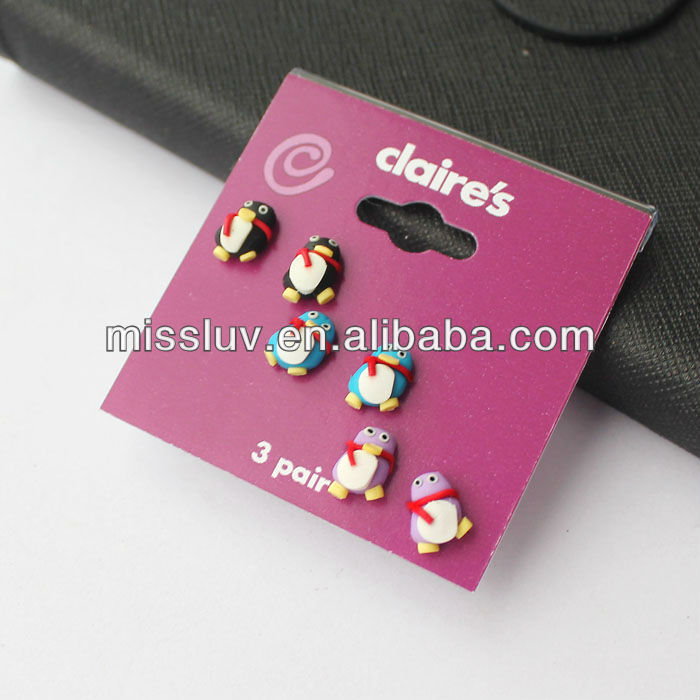 fashion cute resin QQ penguin stud earrings,plastic animal korea earrings