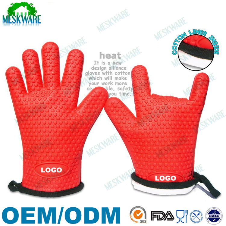Silicone five fingers premium heat resistant gloves with cotton