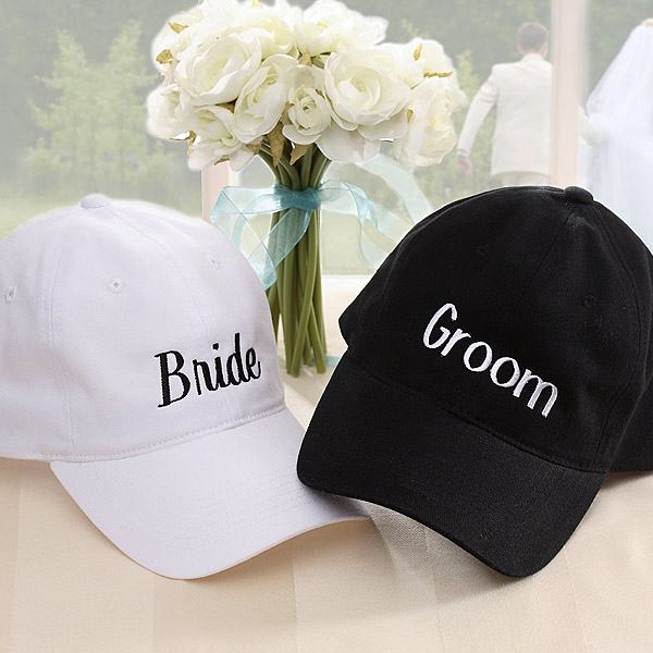 Wedding Party Embroidered Baseball Cap - White &Black