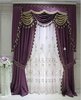 Romantic purple american style fashion luxury curtains with fancy embossed