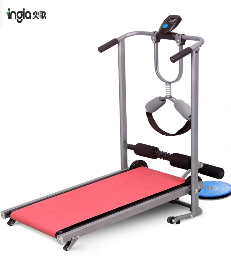 <strong>Fitness</strong> Running Machine with Run-up Belt and Wriggled plate Manual Treadmill Adjustable Foldable Treadmill