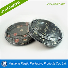 Biodegradable disposable Round plastic sushi packaging boxes With PLA Lid