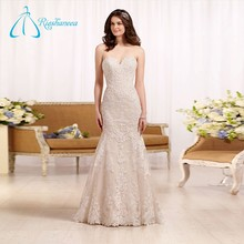 2017 Custom Made Sleeveless Lace Appliques Mermaid Wedding Dress Bridal Gown
