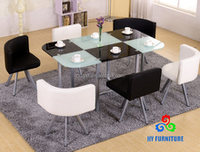 High glossy glass 6 seaters dining cafe table and chairs wholesale