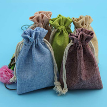 Hot Selling Colorful Jute Fabric Gift Packing Drawstring Jute Pouch With Ribbons