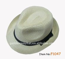 Women's fashion PP and polyester cheap fedora hat