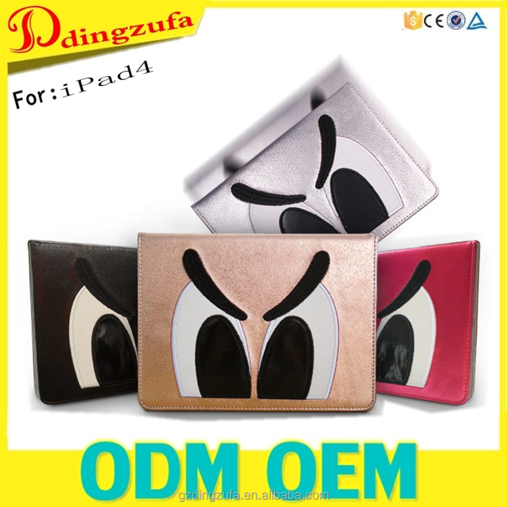 Funny Big eyes Hybrid Wallet Stand Case Skin Cover Flip PU Leather Case For Ipad 4