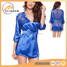 OEM Pajamas satin silk bathrobes mature women Sexy lingerie wholesale
