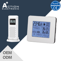 Durable Advertising Promotion Low Cost Solar Power Weather Station Clock