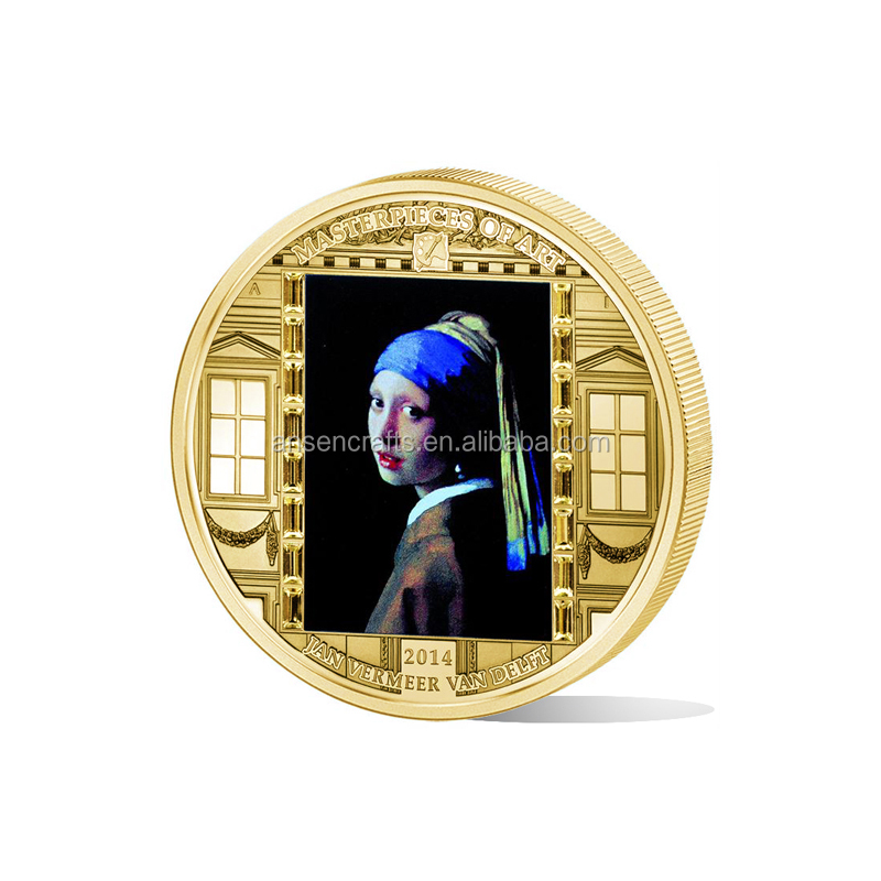 Custom Masterpiece of Art Girl with a Pearl Earring Art Coins