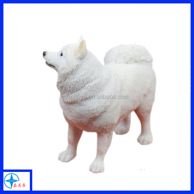 customized resin lifelike stand white dog statue resin crafts for home decoration