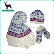 fresh newest blue porcelain patterned knitted sets include scarf hat gloves