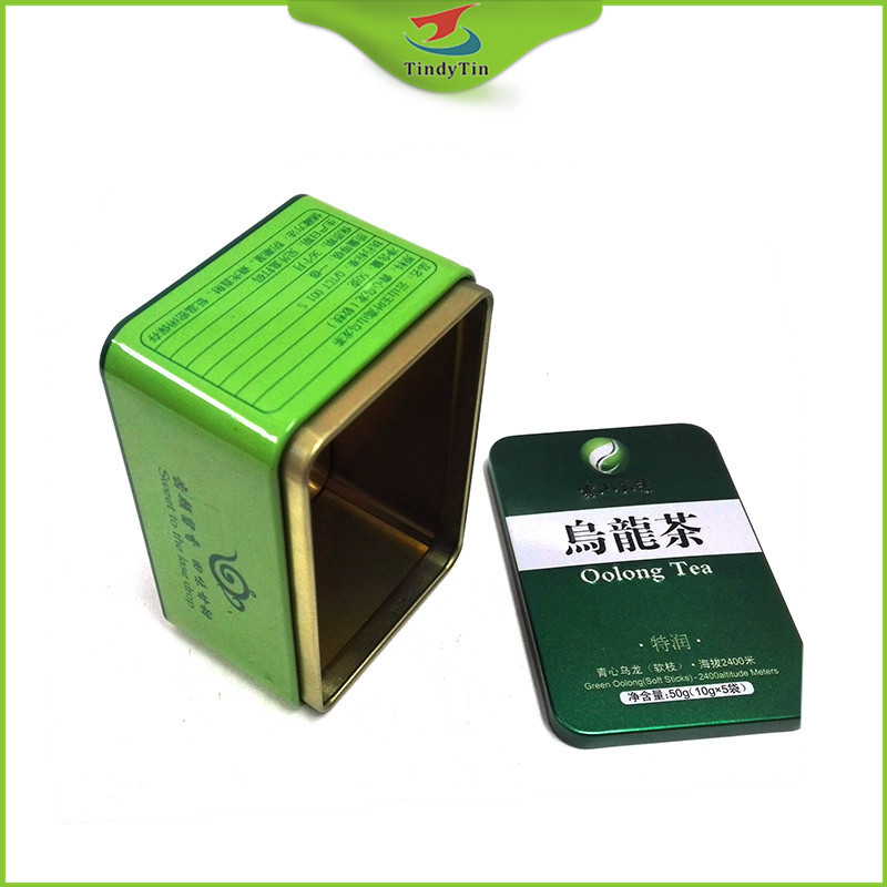 square metal wholesale japenese tea caddy with custom printing