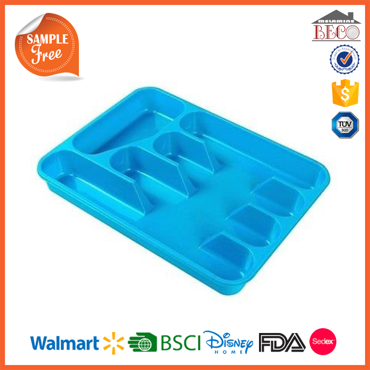 China Manufacturer Blue Melamine Plastic Cutlery Tray