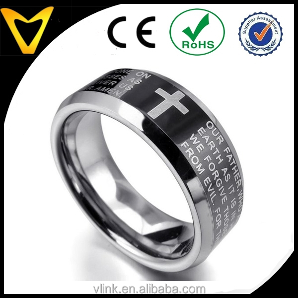 Fashion Mens Wedding Rings, Men's Tungsten Ring Band Black Silver Comfort Fit Cross English Bible Lords Prayer Vintage Polished