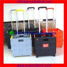 Different Color Foldable Plastic Folding Shopping Grocery Carts