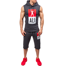 Quickly dry fit athletic track suit hooded sleeveless basketball men tracksuit men