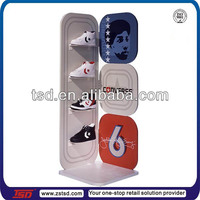 TSD-W485 spray painting MDF Converse branded sports shoe display design/ wooden shoe display rack