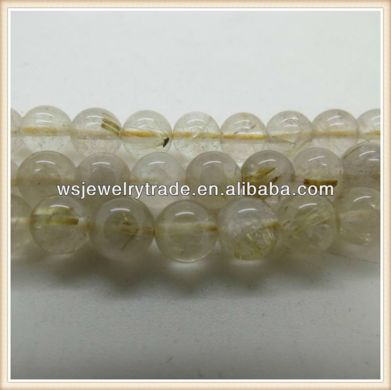 4MM-8MM Natural Rutilated Quartz Round Beads Wholesale