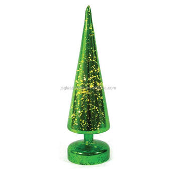 2017 led lighted glass christmas tree table decoration
