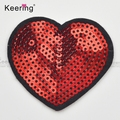 4.6*5.2cm iron on red heart shape sequin patch WEFB-012