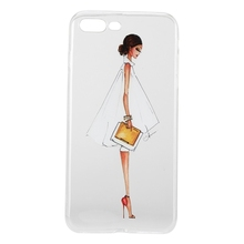 Transparent Soft TPU Cases Cover for iPhone 7 Plus-Lady