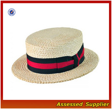 HX481 natural straw boater hat / jazz band straw hat
