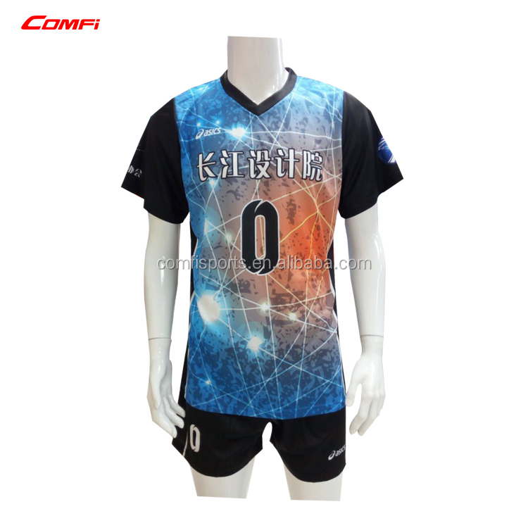 Sublimated ladies volleyball shirt with short colorful volleyball jersey