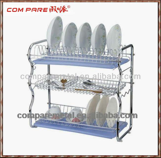 3 Tiers Stainless Steel Dish drying metal rack