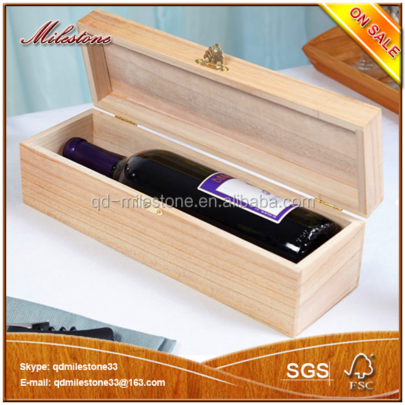 Cheap Unfinished Portable Wood Wine Bottle Carrying Case Wholesale