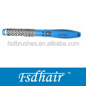wholesale round ceramic hair brush/aluminum barrel hair brush with nylon pins
