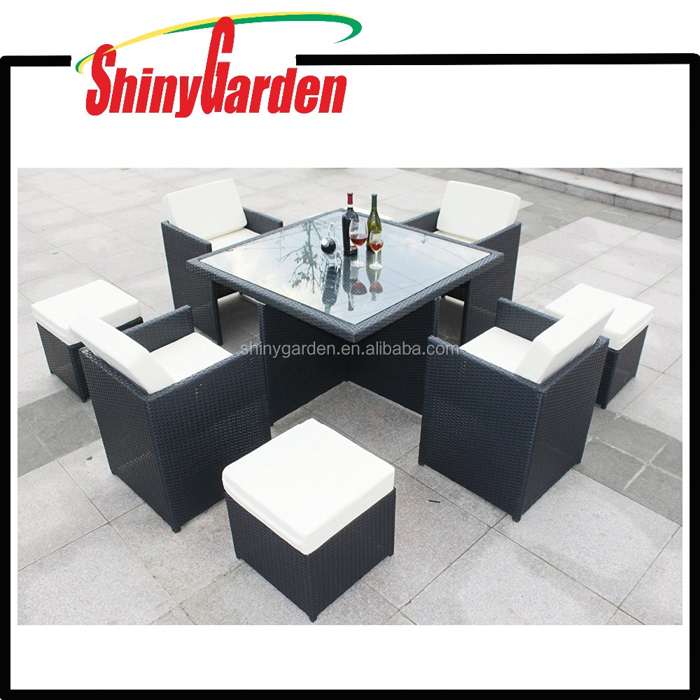 9-Piece Outdoor PE Rattan Wicker Patio Dining Table Set Furniture Cube Sets