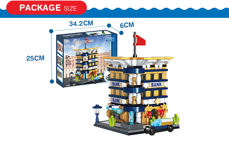 310 pcs diy creative city street bank model building blocks kids toy house for kids