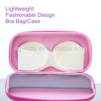 pink zipper closing lace eva travelling bra case