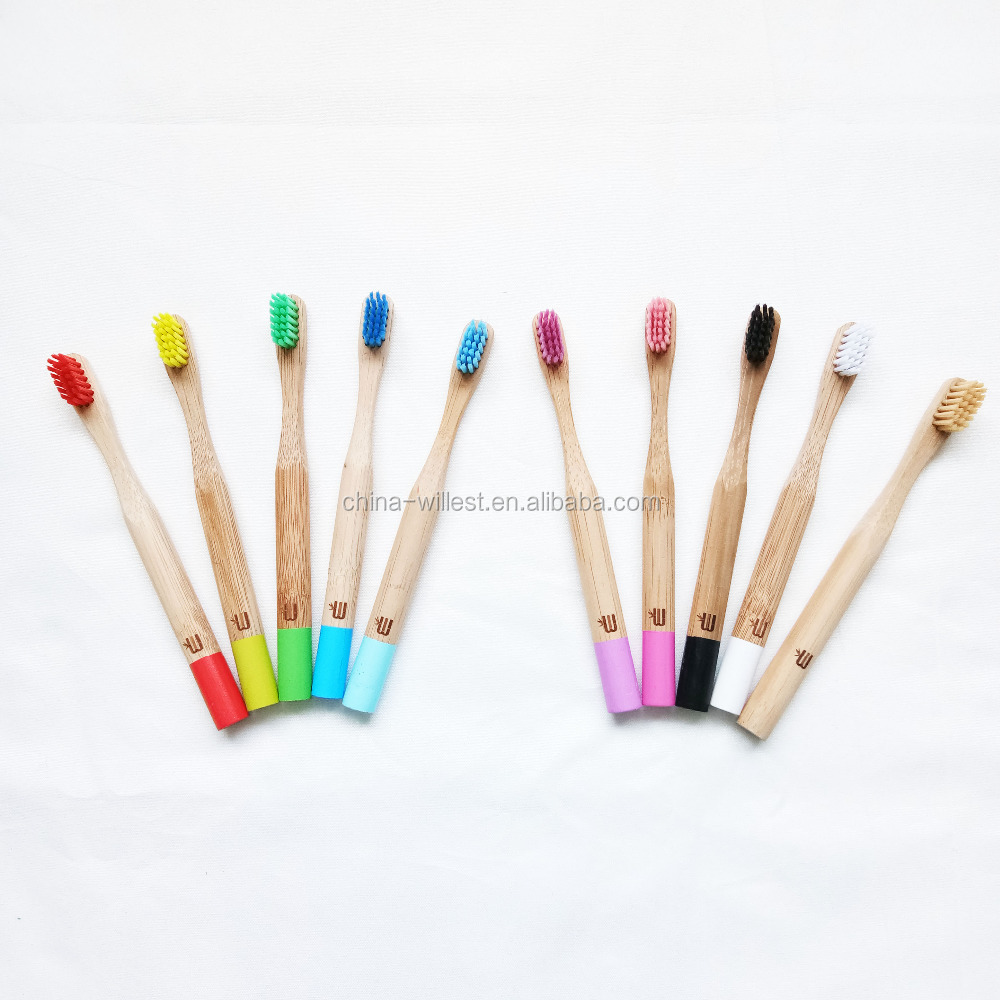 Mini toothbrush with wooden handle