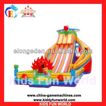 2013 outdoor playground inflatable slide trampolines with a slide