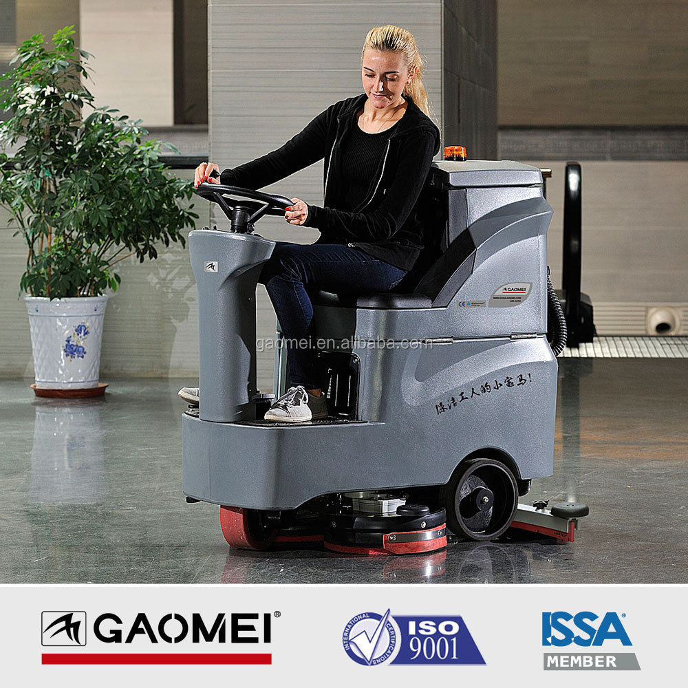 Compact Ride on battery Floor Scrubber dryer for Cleaning Heavy Grease and Grime in Large Warehouse & Factory R-QQ