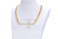 Luxurious Jewelry Stainless Steel Gold Plated Imitation White Crystal Necklace with Cross Charms Jewelry