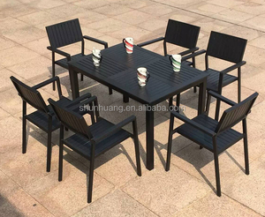Outdoor plastic wood furniture bistro dining sets table and chairs garden furniture sets